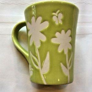 2007 Starbucks Lime Green Mug w/ White Flowers
